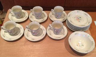 Conjunto 6 tazas café + 6 platos + 1 cuenco