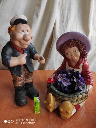 Muñecos de cerámica - capitán y mujer florista
