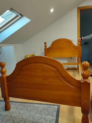 Cama 105 + mesilla de noche de madera maciza