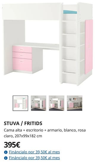 IKEA Cama alta + escritorio + armario