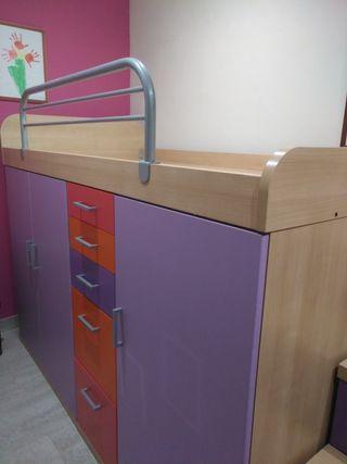 cama individual con armario