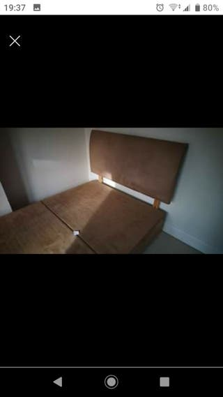 Light Brown fabric double bed