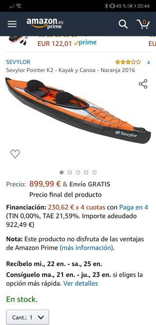 kayak hinchable sevylor pointer k2