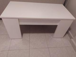 Mesa centro elevable en color blanca