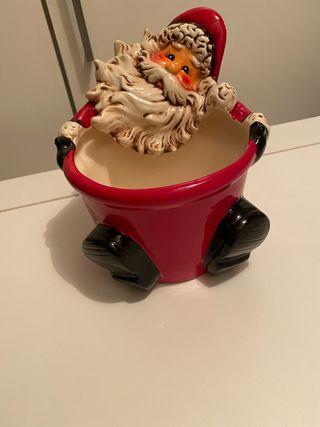 Recipiente de cerámica adorno navidad.