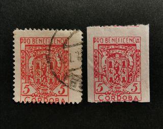 Pareja sellos Guerra Civil Córdoba. Nuevo y usado.