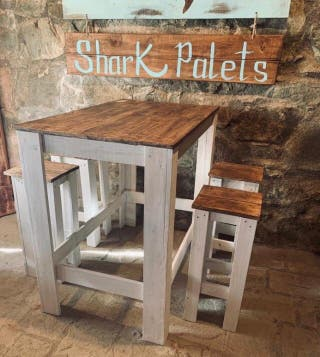 Mesa alta desayuno barra taburetes