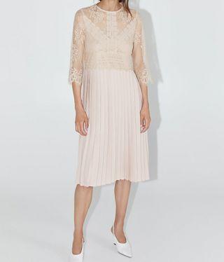 Vestido Zara L encaje y plisado