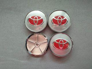 Tapabujes centro rueda Toyota plata rojo 68mm