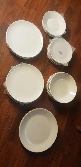 vajilla 18 piezas+6 vasos+2 tupper+platos regalo