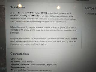 "Ruedas Mavic Crossride 26"" Eje 9mm"