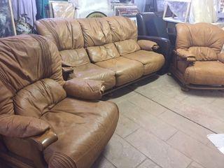 Conjunto Sofa 3 piezas de piel