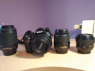 Nikon d3100 y 4 objetivos