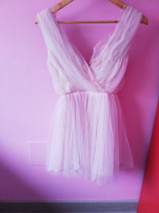 vestido mujer rosa palo