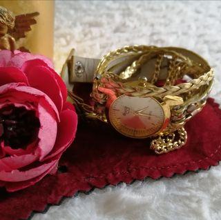 Reloj mujer acero dorado y piel