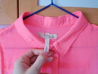 Camisa rosa neon L-Bershka