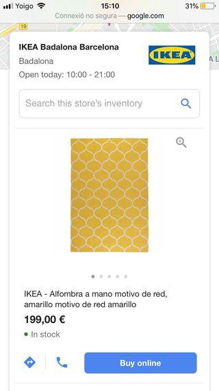 Alfombra amarilla Ikea de segunda mano por 65 € en Barcelona