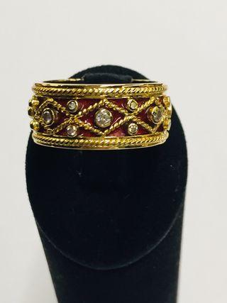 YANES Anillo TIMBAL oro, diamantes y esmalte.