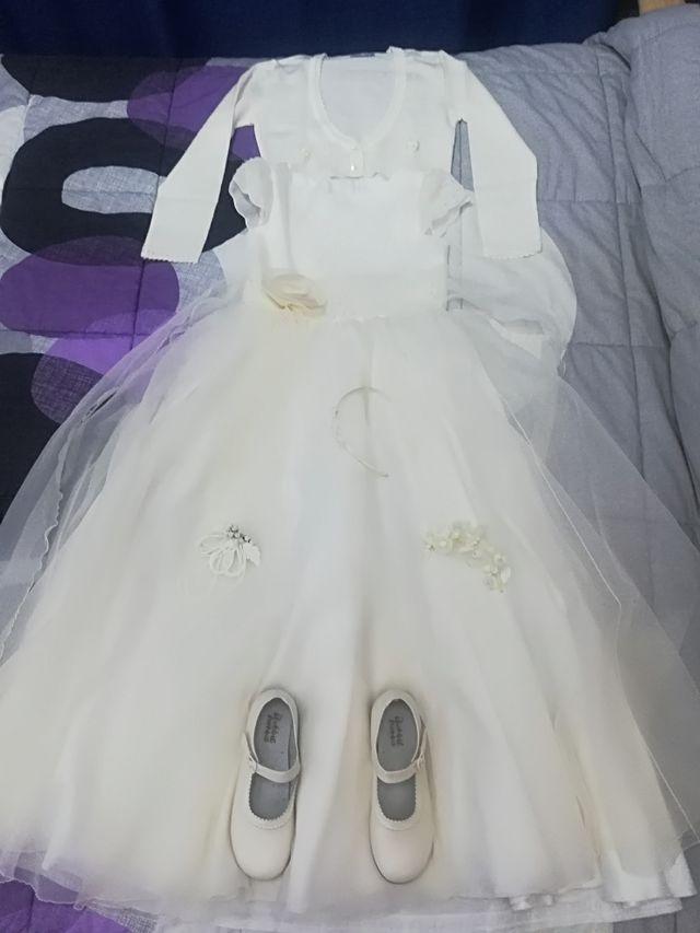 Vestido comunion, chaqueta, zapatos y diadema