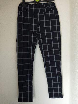 Pantalón zara de cuadros elástico talla 40/42/l