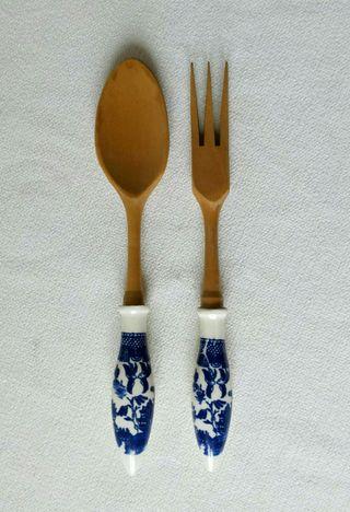 Cuchara y tenedor madera y cerámica (nuevos)