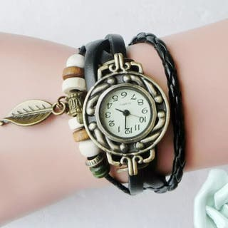 Reloj negro mujer, pulsera de cuarzo de lujo.