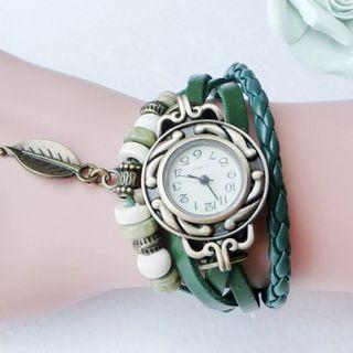 Reloj verde mujer, pulsera de cuarzo de lujo.
