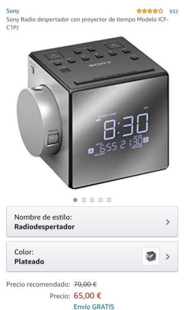 Sony radiodespertador con proyector