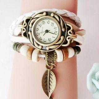Reloj blanco mujer, pulsera de cuarzo de lujo.