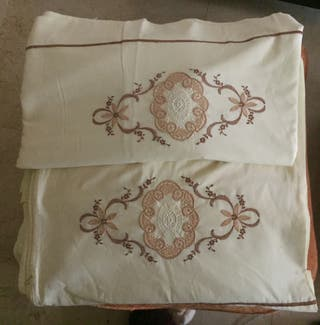 Juego sábanas bordadas vintage
