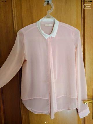Camisa traslúcida rosa palo