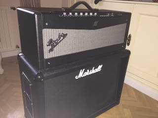 Cabezal Fender Mustang + Pantalla Marshall MC212