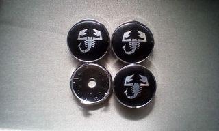 4 Tapabujes centro rueda Abarth negro 60mm.