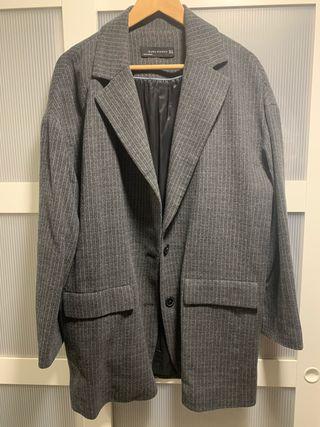 Abrigo gris rayas mujer XL Zara
