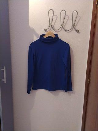 Camiseta-top de cuello vuelto Azul eléctrico Zara