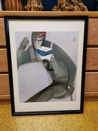 Litografía de Jordi Alumá, Esquiador año 92.