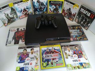 PlayStation 3 + 1 mando + 11 juegos