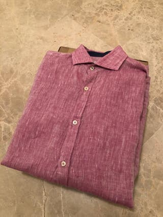 Camisa Zara lino Rosa S