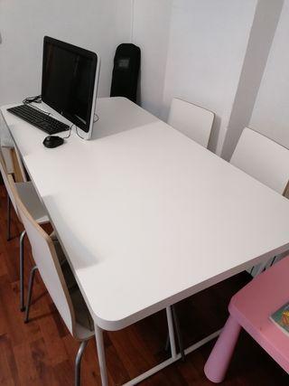 mesa blanca comedor ikea y sillas
