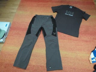 pantalon montaña SALEWA y camiseta helly hansen