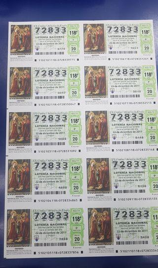 billetes lotería antiguos Navidad