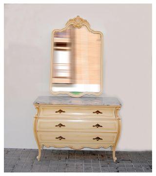 Antigua Cómoda y espejo isabelino