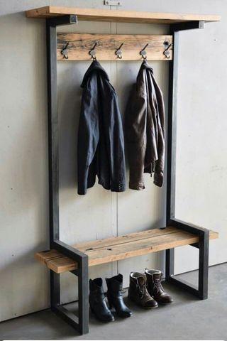Mueble banco perchero recibidor industrial