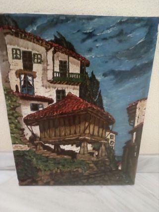 Cuadro vintage pintura lienzo hórreo antiguo