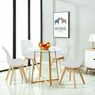 Mesa y sillas redondas de vidrio para comedor Conj