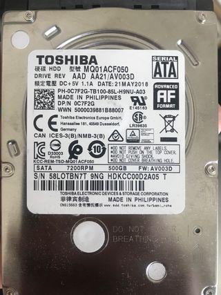 """HDD Toshiba 500Gb 2,5"""""""