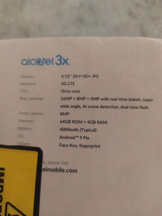alcatel 3x 2020 con 4 gb -64