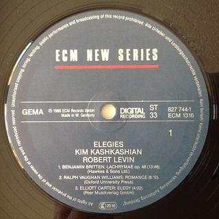 """KIM KASHKASHIAN & ROBERT LEVINE """"ELEGIES"""" LP"""
