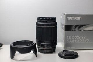 Objetivo TAMRON 18-200mm para Canon + filtros Hoya