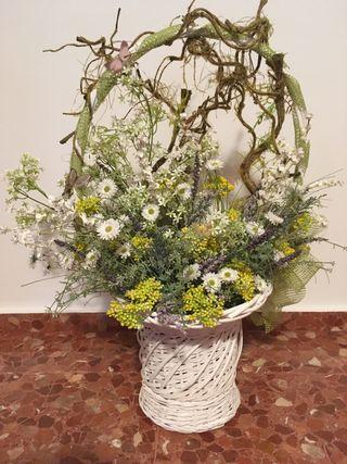 Cesta flores decoración